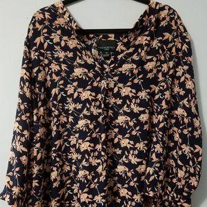 Lovely Cynthia Rowley navy peach floral tunic, 3X